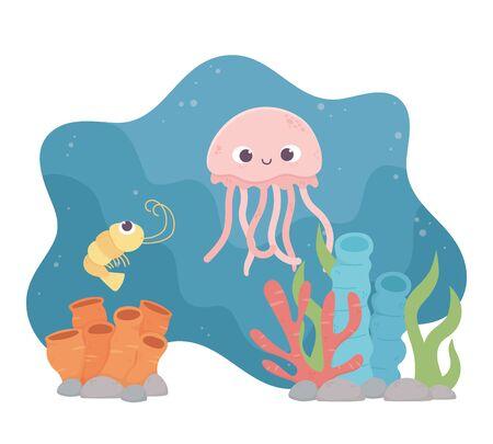 jellyfish shrimp life coral reef cartoon under the sea vector illustration Ilustracje wektorowe