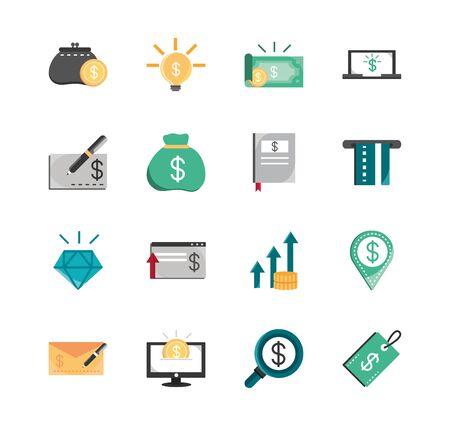 finanzas, dinero, negocios, economía, iconos, conjunto, vector, ilustración