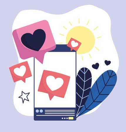 smartphone speech bubble love romantic social media vector illustration