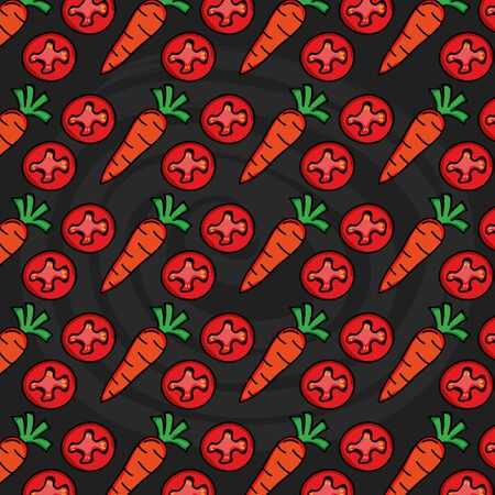 carrots and tomatoes vegetables pattern background vector illustration design