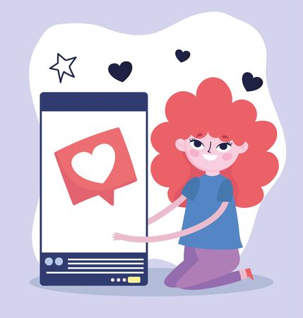 young woman with smartphone speech bubble social media vector illustration