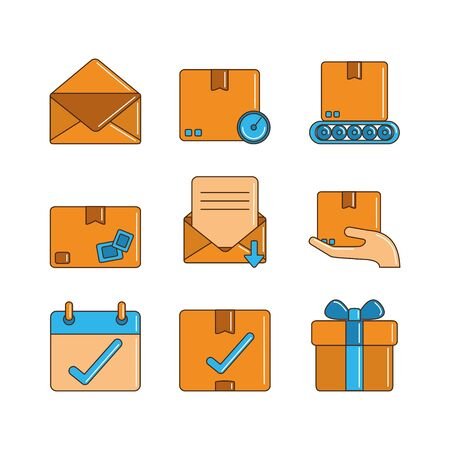 delivery cargo shipping distribution logistic icons set vector illustration line and fill