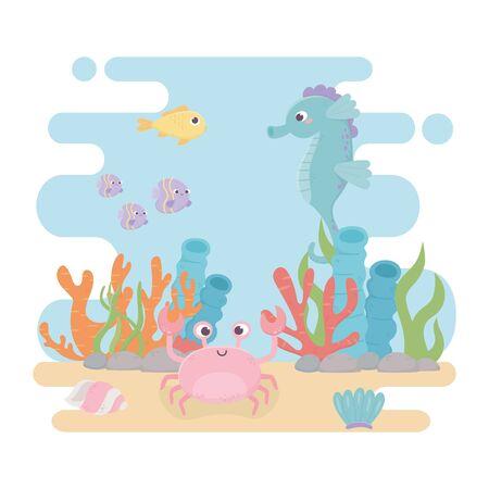 seahorse fishes crab life algae coral reef cartoon under the sea