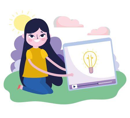 young woman video content creativity social media Vektoros illusztráció