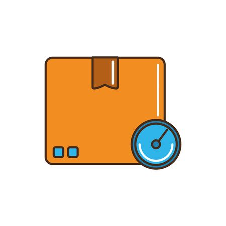 cardboard box chronometer speed service cargo delivery vector illustration line and fill