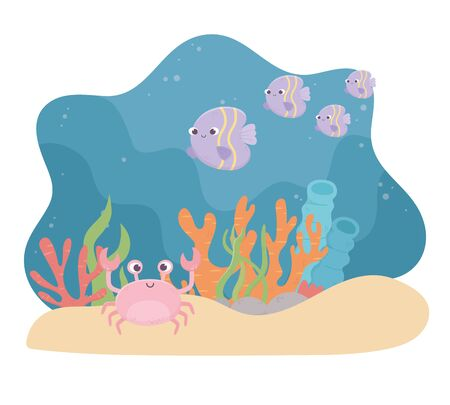 crab fishes life sand coral reef cartoon under the sea