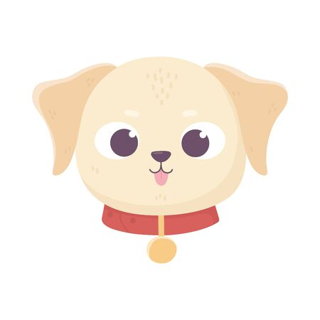 cute face dog collar medallion domestic cartoon animal, pets Ilustrace