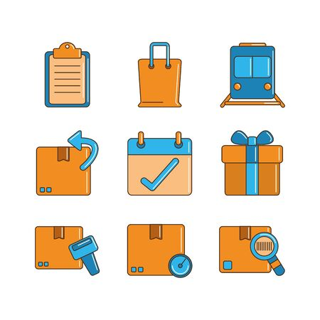 delivery cargo shipping distribution logistic icons set line and fill