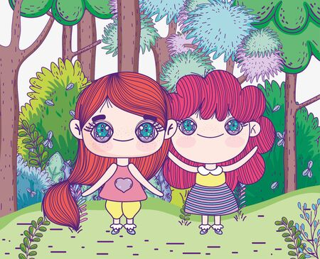 kids, cute little girls anime cartoon standing in the forest trees meadow