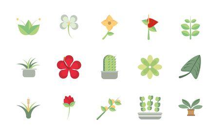 flower foliage decoration natural floral botanical icons set