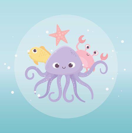 octopus crab starfish and fish life cartoon under the sea