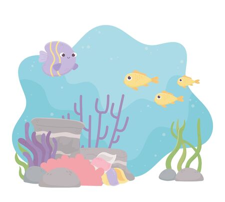 fishes life coral reef cartoon under the sea