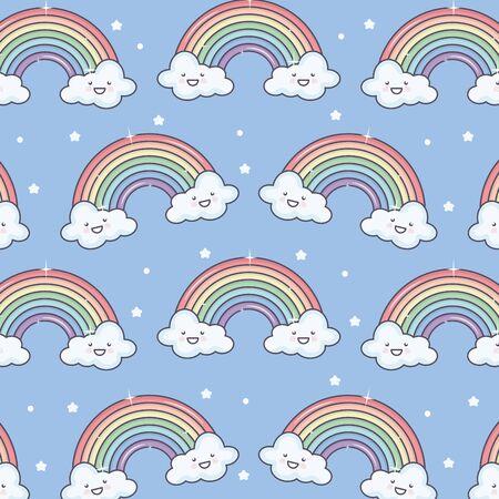 cute summer sun and clouds with rainbow kawaii pattern