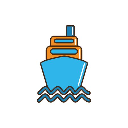ship boat container marine nautical transport vector illustration line and fill