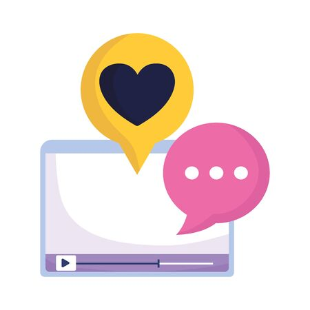 website video content love heart message chat social media