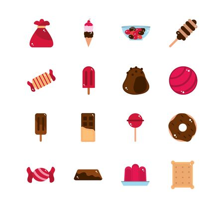 sweet confectionery snack food candy icons collection 矢量图像
