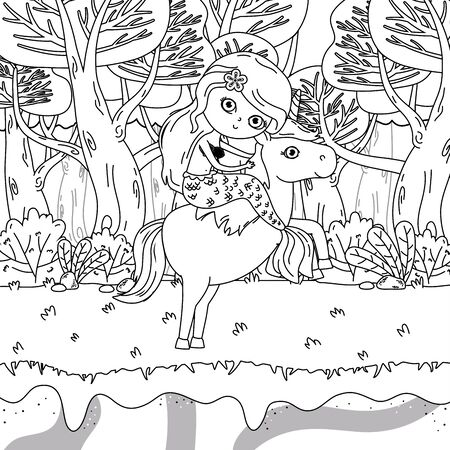 Mermaid and unicorn of fairy tale design vector illustration