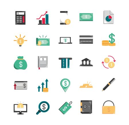 finance money business economy icons set vector illustration  イラスト・ベクター素材