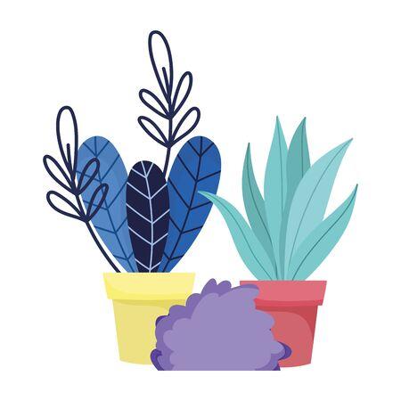 plants leaves in pots bush botanical decoration vector illustration