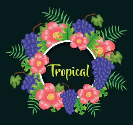 fresh grapes fruits and floral decoration vector illustration design  イラスト・ベクター素材