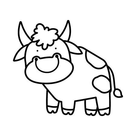 cute bull livestock farm animal cartoon thick line