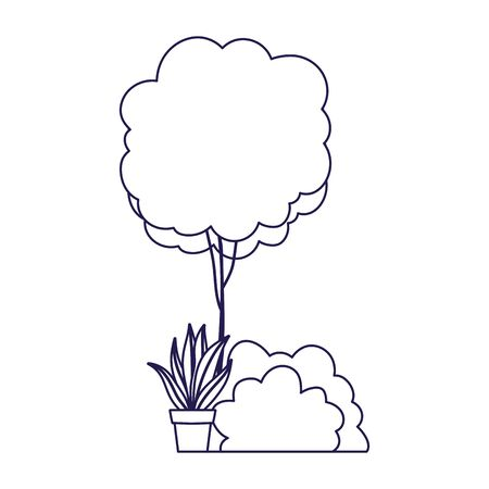 tree bush and potted plant decoration on white background vector illustration  イラスト・ベクター素材
