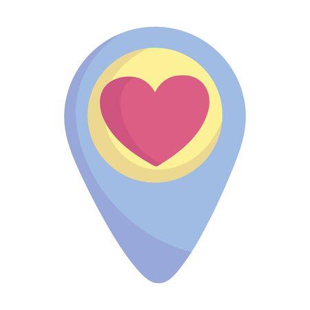 social media pointer location love heart romantic icon vector illustration