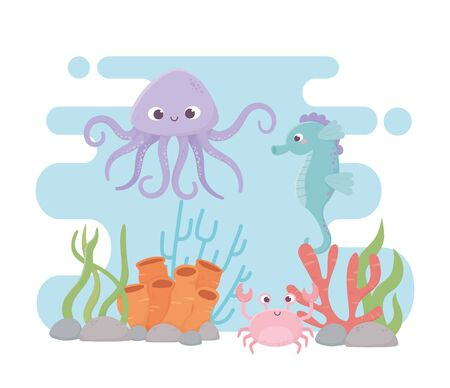 octopus seahorse crab life coral reef cartoon under the sea vector illustration