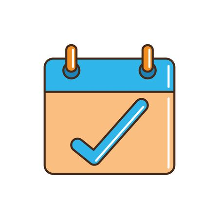 calendar check mark reminder cargo delivery vector illustration line and fill  イラスト・ベクター素材
