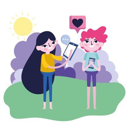 cute girl and boy smartphone idea talk love setting message social media vector illustration  イラスト・ベクター素材
