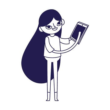 social media young woman using smartphone character vector illustration