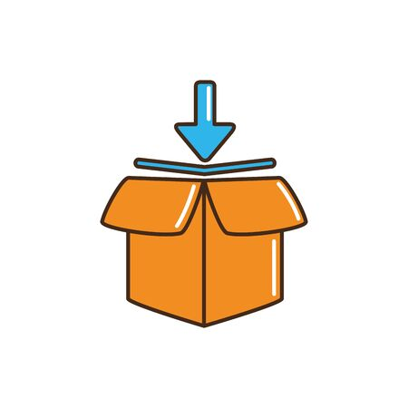 open delivery parcel cargo down arrow vector illustration line and fill