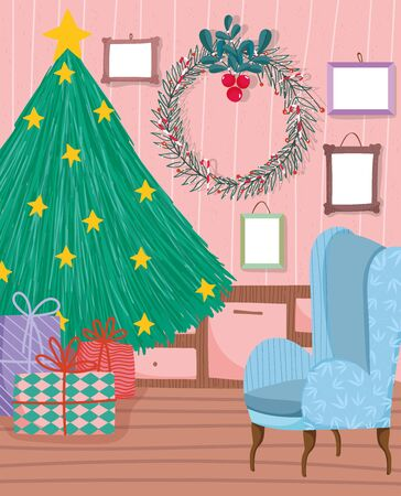 christmas tree to home with stars gifts wreath chair and wall frame pictures