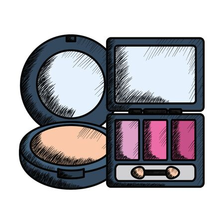 eye shadows with blush and mirror make up drawing