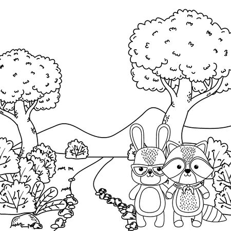 Raccoon and rabbit cartoon design Illusztráció