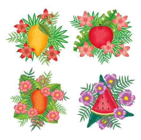 set of fresh fruits with flowers and leafs frames