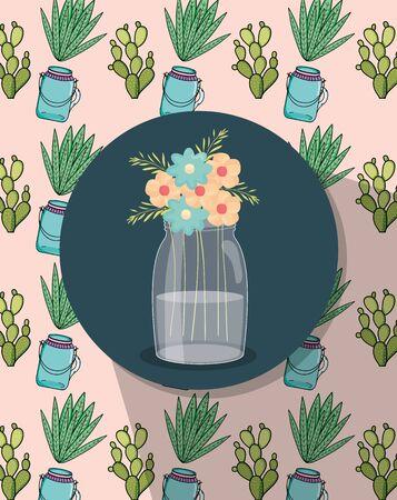 mason jar flowers label decoration jars and cactus background Ilustração
