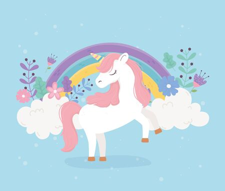 unicorn pink hair flowers rainbow fantasy magic dream cute cartoon 일러스트