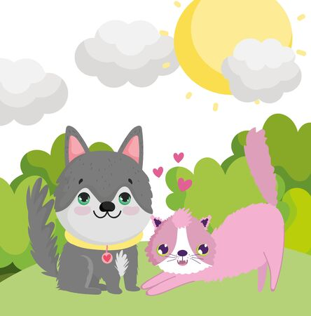 cute husky dog and pink cat in the grass outdoor lovely pets vector illustration