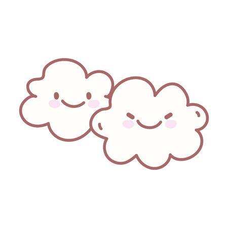 kawaii clouds sky weather character cartoon cute vector illustration