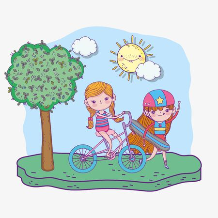 happy childrens day, cute girl skateboard and bicycle in the park vector illustration
