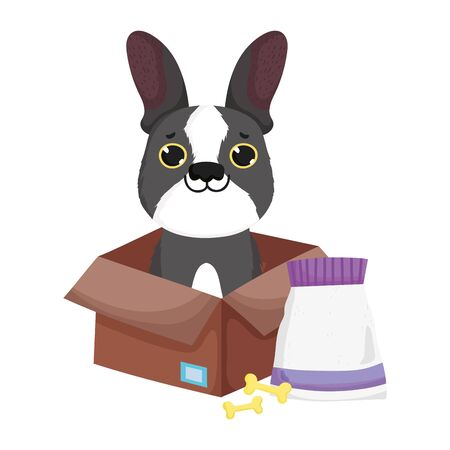 cute little dog in box with bones and food pets vector illustration