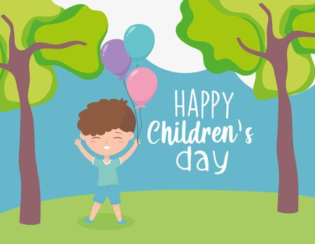 happy childrens day, little boy with balloons celebration trees grass nature cartoon