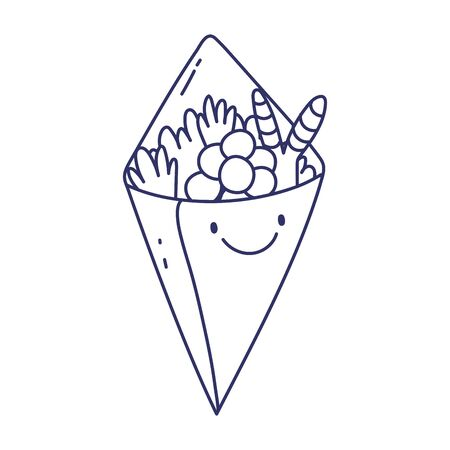 temaki sushi menu restaurant cartoon food cute vector illustration line style