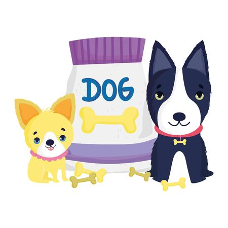dogs with collar and pack food bones cartoon pets