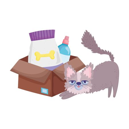 disheveled cat with food package and veterinary bottle pets Illusztráció