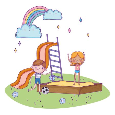 happy childrens day, boy with soccer ball and girl in sandbox playground vector illustration