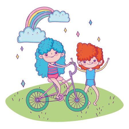 happy childrens day, girl riding bicycle and boy outdoor cartoon vector illustration Ilustracja