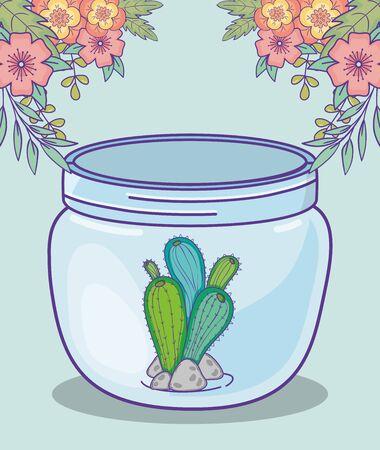 mason jar cactus and stones flowers decoration