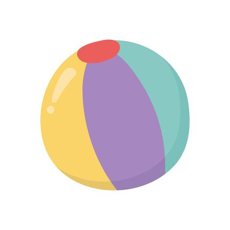 kids toy, beach ball rubber object icon design